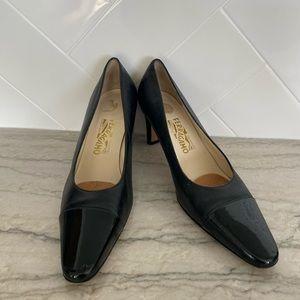 Salvatore Ferragamo Black Patent Toe Heels Size 9
